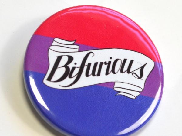 Bifurious Bi Pride Queer Badge Pinback Button