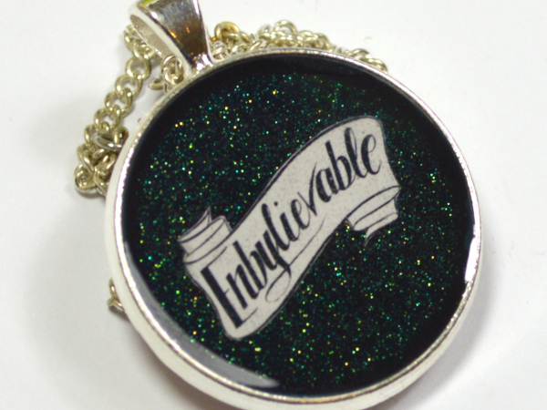 Enby Enbylievable Non Binary Pride Queer Glitter Resin Pendant