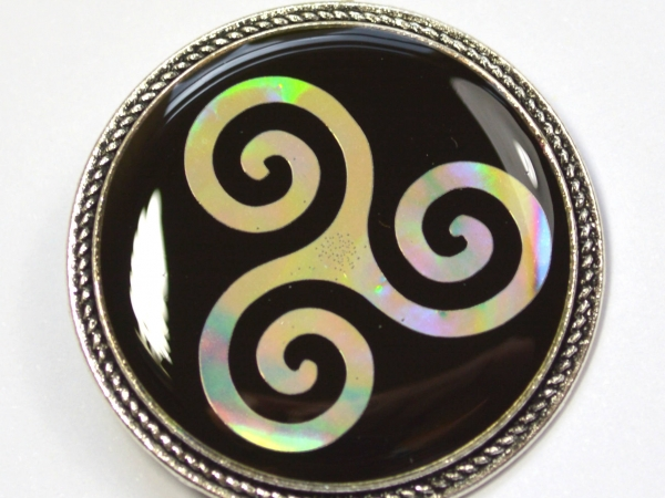 Teen Wolf Merlin Celtic Triskele  Holographic Holo Resin Brooch