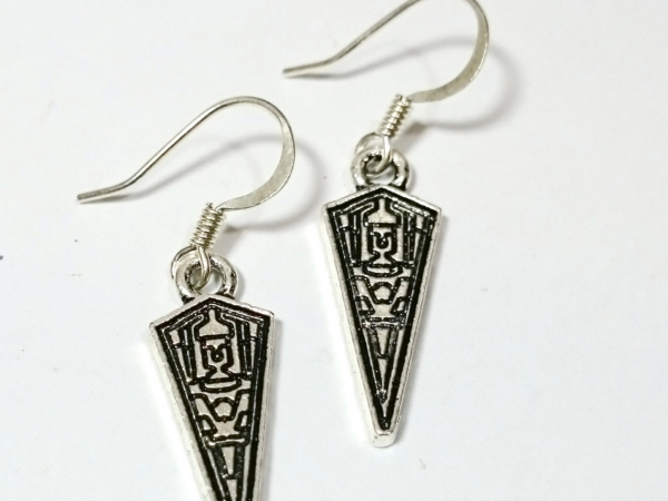 Imperial Battlecruiser Star Wars Silver Dangle Earrings