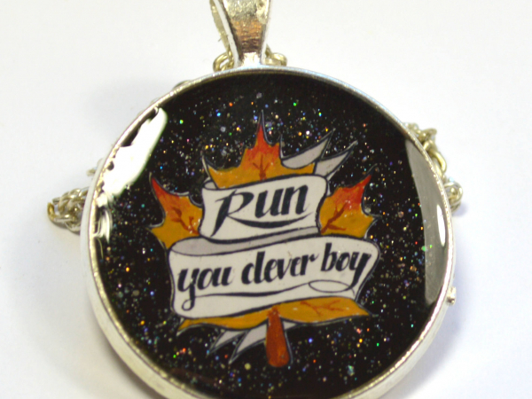 """Doctor Who Clara """"Run You Clever Boy"""" Hand Painted Resin Pendant"""