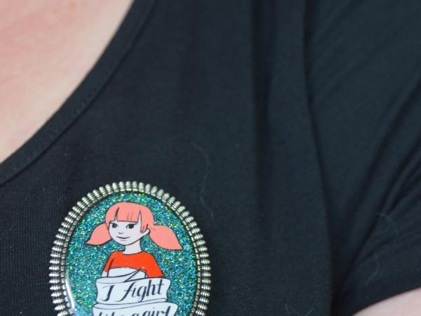"""Penny Inspector Gadget 80s Retro Feminist """"I Fight Like A Girl"""" Resin Brooch"""