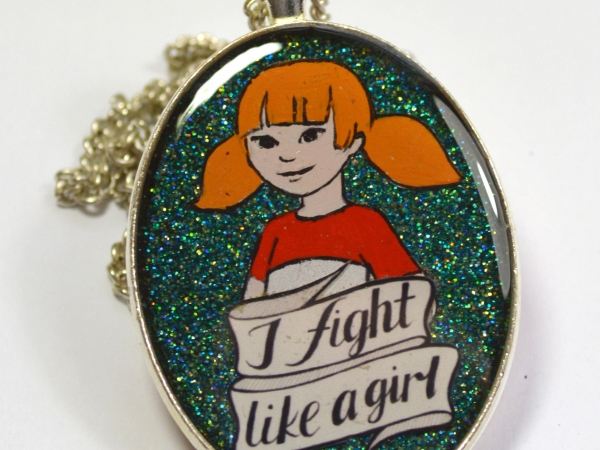 Inspector Gadget Penny 80s Retro Feminist I Fight Like A Girl Pendant