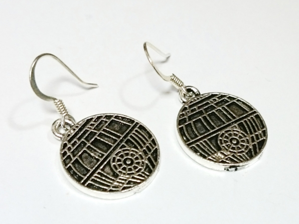 Star Wars Death Star Silver Dangle Earrings