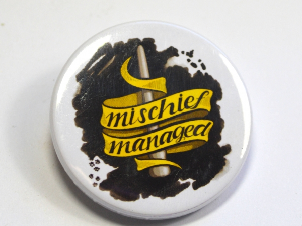 Harry Potter Mischief Managed Hufflepuff Button Badge