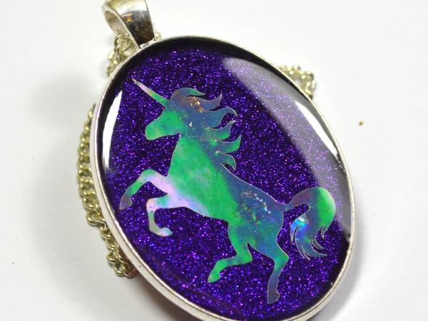 Purple Holographic Unicorn Silhouette Pendant