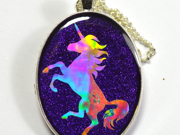 Purple Holographic Unicorn Silhouette Pendant