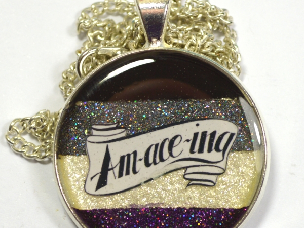 Amaceing Asexual Pride Glitter Resin Pendant