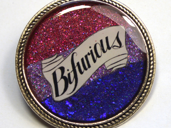 Bifurious Bisexual Pride Bi Queer LGBT Glitter Resin Brooch