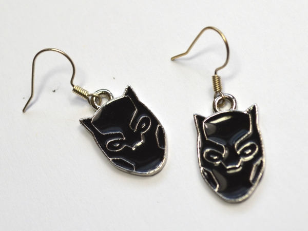 Black Panther Silver and Enamel Earrings