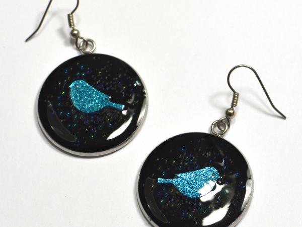 Glitter Bluebird Blue Bird Handmade Earrings