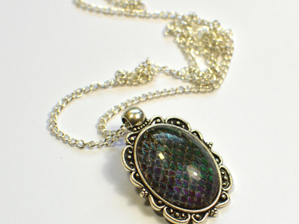 Dragon Skin Teal to Purple Oval Pendant Snake Skin Real Snake Skin