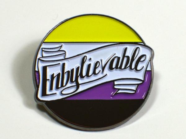Enbylievable Non-Binary Enby Pride Enamel Pin Queer LGBT