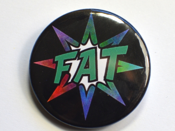 Fat Pride Comic Splash Rainbow Badge