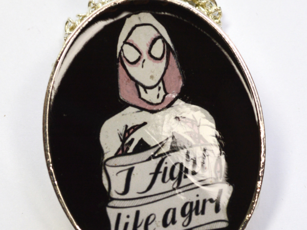 Spider-Gwen I Fight Like A Girl Pendant