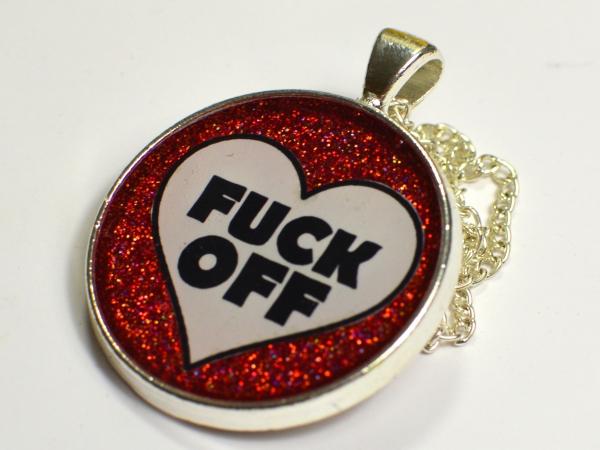 Fuck Off Red Glitter Heart Pendant