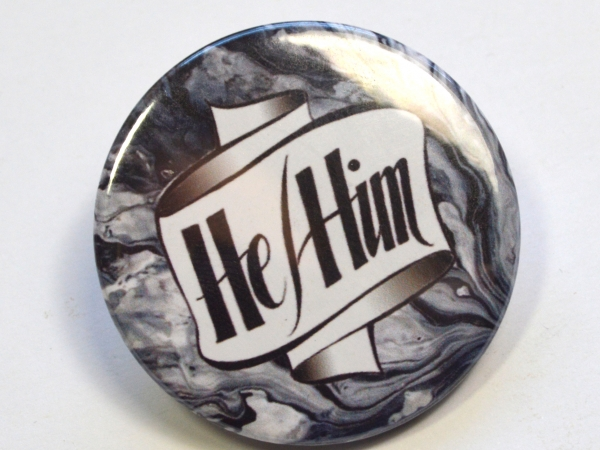 Pronouns He-Him Hand Lettered Badge