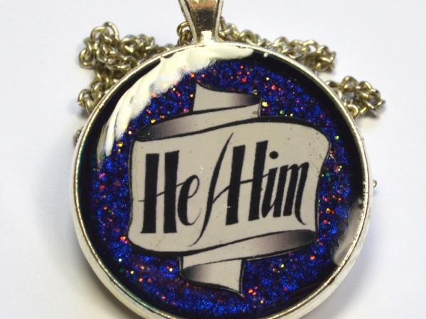 Pronouns He-Him Resin Pendant LGBT