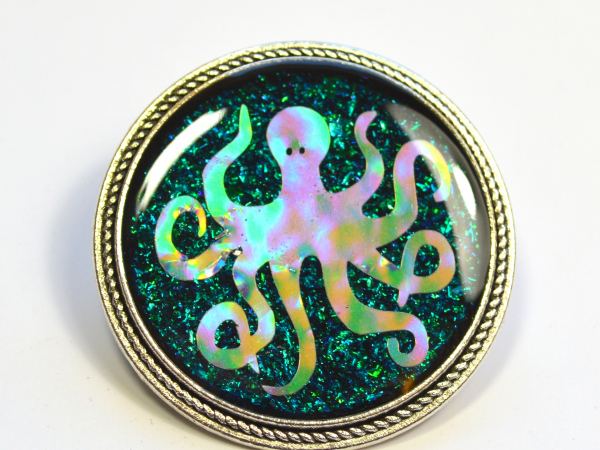Holographic Octopus Handmade Resin Brooch