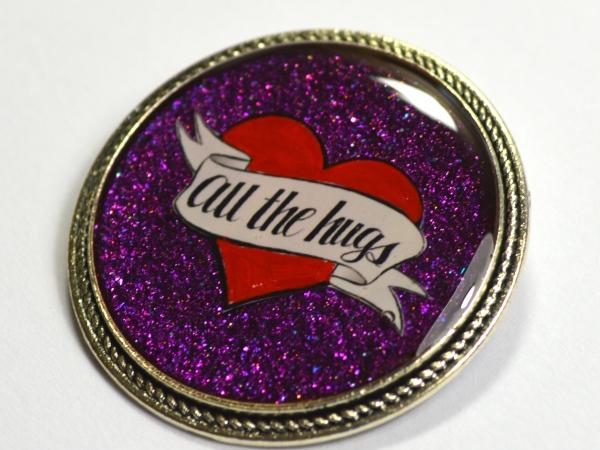 All The Hugs Consent Heart Purple Resin Brooch