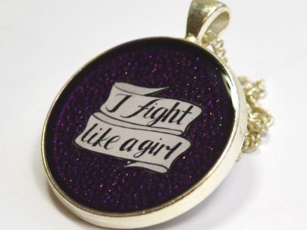 Feminist Purple I FIght Like A Girl Resin Pendant