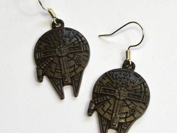 Millennium Falcon Star Wars Silver Dangle Earrings