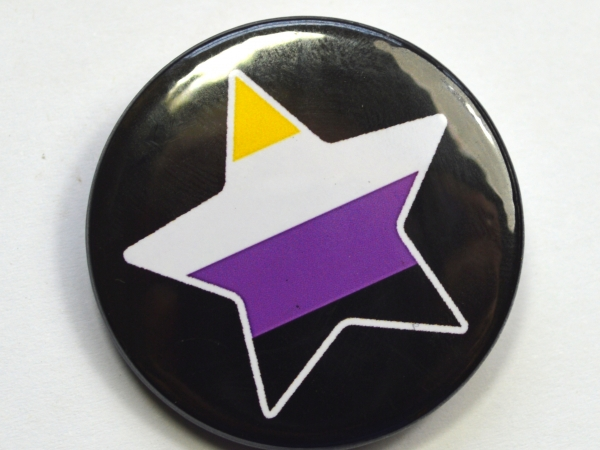LGBTQIA Galaxy Non Binary Enby Pride Star Badge