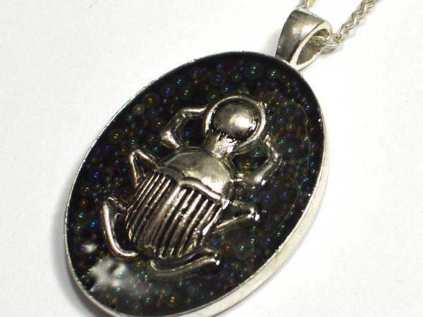 Scarab Egypt Silver Caviar Bead Iridescent Bubble Handmade Pendant