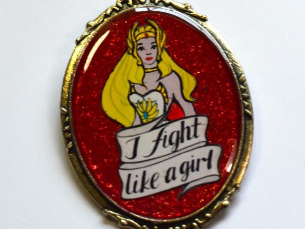 "She-Ra Princess of Power 80s Retro Feminist ""I Fight Like A Girl Resin Brooch"