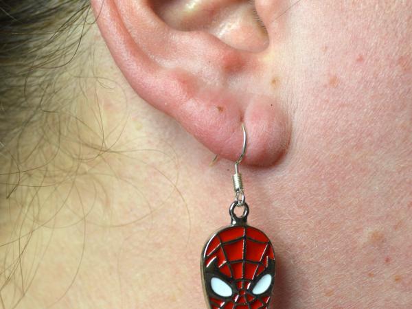 Spiderman SIlver and Enamel Earrings
