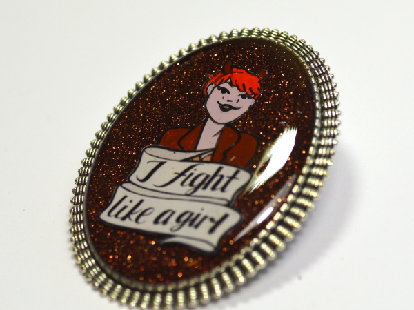 "Unbeatable Squirrel Girl ""I FIght Like A Girl"" Feminist Brooch"