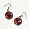 Gothic Bat Red Black Silver Handmade Earrings