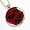 Bats Gothic Silver and Red Bat Pendant Handmade