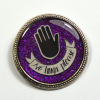 No Hugs Please Consent Personal Space Purple Resin Brooch