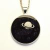 Planet Saturn Galaxy Nebula Glitter Resin Pendant