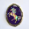 Purple Glitter Holo Holographic Unicorn Fancy Brooch