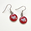 Valentines Day Romantic Red and Pink Hearts Resin Sparkle Earrings