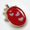Valentines Day Romantic Red and Pink Hearts Resin Pendant