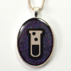 Science Test Tube Purple and Silver handmade pendant