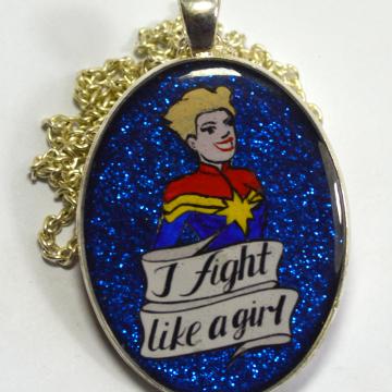 Captain Marvel Fight Like A Girl Pendant