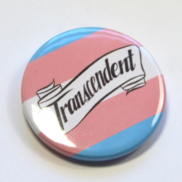 Transcendent Trans Pride Queer Badge Pinback Button