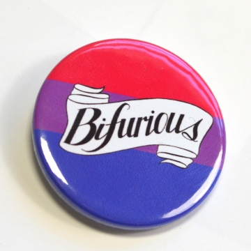 Bifurious Bi Pride Queer Badge Pinback Button