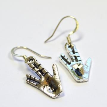 Star Trek Spock Vulcan Salute Silver Dangle Earrings