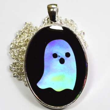 Halloween Holographic Ghost Resin Pendant
