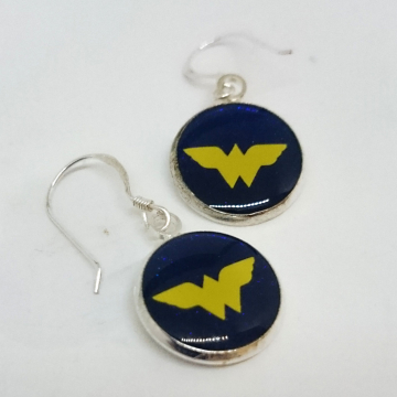 Wonder Woman Logo Silver Dangle Earrings
