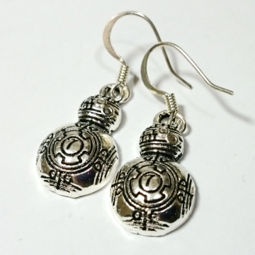 BB8 Star Wars Silver Dangle Earrings