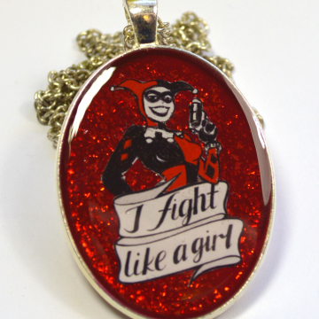 Harley Quinn Classic Animated Series Geeky Feminist Portrait Pendant