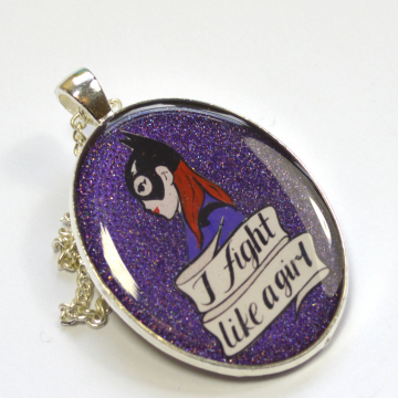 "Batgirl of Burnside Feminist ""I Fight Like A Girl"" Portrait Pendant"