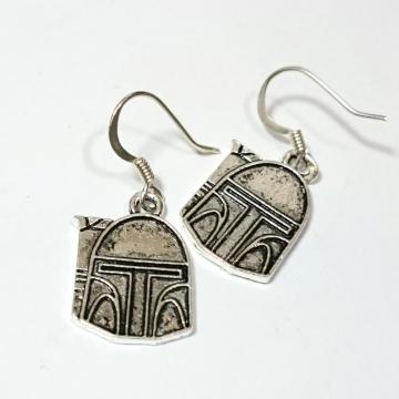Boba Fett Bounty Hunter Star Wars Silver Earrings