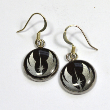 Star Wars Jedi Order Crest Silver Resin Earrings